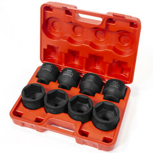 8pc Socket Set 3 4 inch Drive Deep Shallow Impact Wrench Sae Cr v W Case