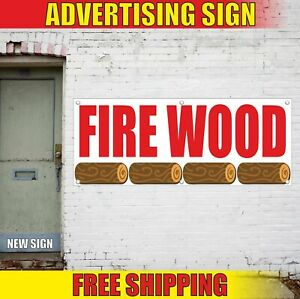 Fire Wood Advertising Banner Vinyl Mesh Decal Sign Seasoned For Sale Delivery 24
