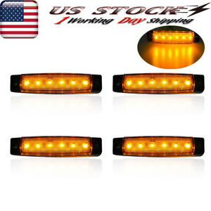 Universal 4pcs Side Marker Light Trailer Truck 6 Smd Clearance Led Lamps Amber