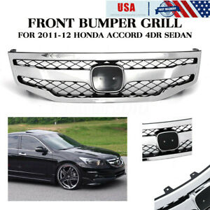 For 2011 12 Honda Accord 4dr Sedan Matt Jdm Sport Front Bumper Mesh Grill Usa