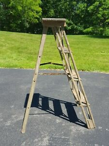Vtg Unusual 1800 S Primitive Wood Painters Step Ladder Home Garden Display