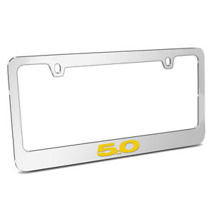 Ford Mustang 5 0 In Yellow Chrome Metal License Plate Frame