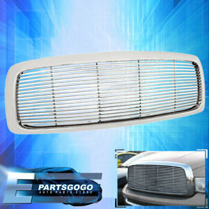 02 03 04 05 Dodge Ram 1500 Pick Up 1 Piece Chrome Front Grille Grill Upgrade