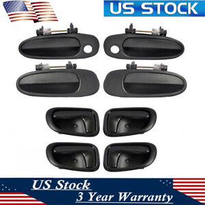Exterior And Interior Door Handle Black Set Of 8 Kit For 93 97 Toyota Corolla Us
