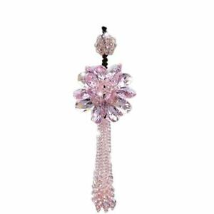 Crystal Flower Car Hanging Ornament Rear View Mirror Pendant Car Accessories