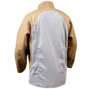 Black Stallion Jf1625 tg Stretch back Fr Cotton Welding Jacket Tan With Gray St