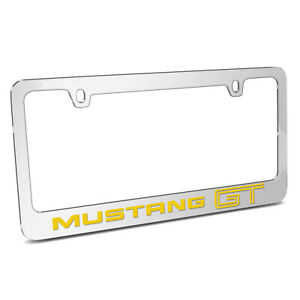 Ford Mustang Cobra Mirror Chrome Metal License Plate Frame Made In Usa