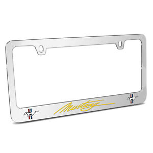 Ford Mustang Script In Yellow Chrome Metal License Plate Frame