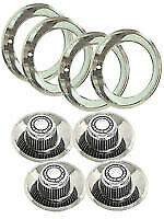 Stainless Trim Rings 4 Caps Camaro Chevelle Rally Rims 14x7 Nova Rally Wheel