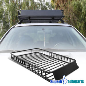 Universal Black Steel Top Cargo Carrier Roof Rack Luggage Car Suv Holder Basket
