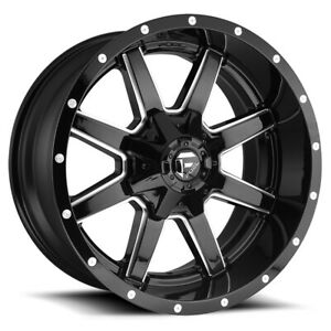 4 Fuel D610 Maverick 22x10 6x135 6x5 5 10mm Black Milled Wheels Rims 2