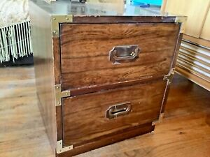 Vintage Bernhardt Campaign Wood Brass Nightstand End Table Mid Century Mcm