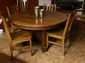 Antique Round Oak Dining Table 54 Diameter 1 Thick Top Limbert Mission