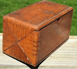 Vintage Singer Patent 1889 Wood Oak Puzzle Tool Box Sewing Machine Attachments