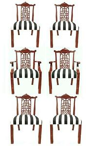 Set 6 English Chinese Chippendale Style Red Oxide Lacquer Regency Dining Chairs