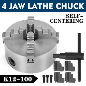 4 Lathe Chuck K12 100 4 Jaw Self Centering Cast Iron Wood Turning Grinding