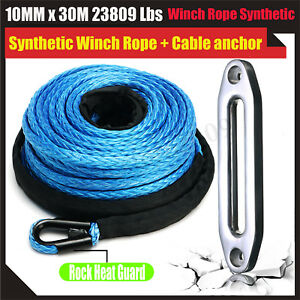 23809lbs 30m Synthetic Winch Rope Cable Line Atv Utv Fairlead Recovery Anchor