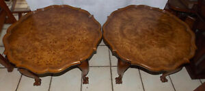 Mid Century Pair Burl Elm And Mahogany Weiman End Tables Side Tables Rpt836