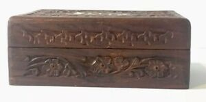 Hand Carved Wooden Box W Hinged Lid Mother Of Pearl Inlay Vintage India