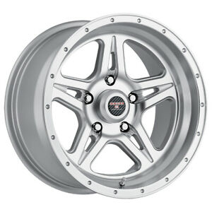 4 Level 8 Strike 5 17x9 5x127 5x5 12mm Silver Machined Wheels Rims