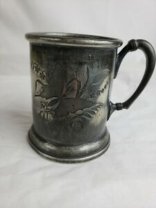 Nice Antique Monogrammed Detailed Pewter Mug
