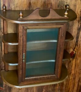 Antique Wood Mirror And Glass Wall Display Curio Cabinet Spice Rack 9 Shelves