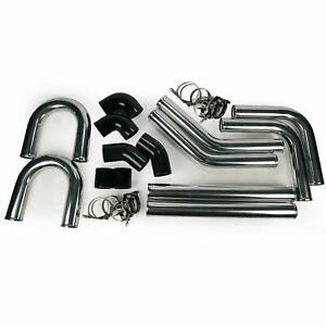 3 Aluminum Universal Intercooler Turbo Piping Pipe Kit Black Hose Kits