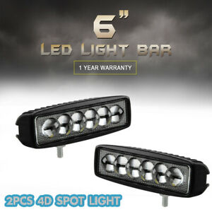 2 X 6 Inch 4d Led Spot Work Lights Bar Driving For Offroad Atv Fog