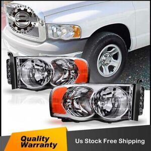 For 2002 2005 Dodge Ram Pickup Pair Chrome Housing Amber Corner Headlight lamp