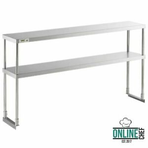 Stainless 12 X 60 Steel Work Table Commercial Prep Double Deck Overshelf Shelf