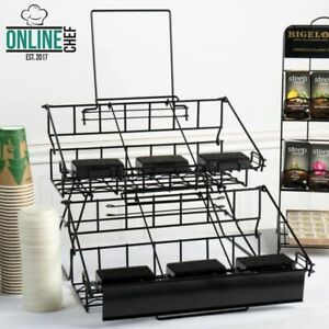 6 Airpot Coffee Display Black Commerical Wire Pot Rack Two Tier W Drip Trays