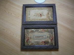 Antique 1800 S Needle Point Bible Covers Petit Point Family Name Kleiter Framed