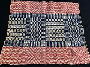 Vintage Old Overshot Indigo Blue Red Primitive Hand Woven Wool Coverlet Piece