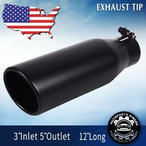 3 Inch Inlet Exhaust Tip 5 Outlet 12 Long Exhaust Tailpipe For Truck Black