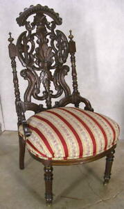 Incredible 19c Pierced Carved Ornate Walnut Victorian Slipper Side Hall Chair Ex