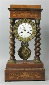 Gorgeous 20 Antique French Empire Inlaid Carved Rare Woods Clock C 1870s
