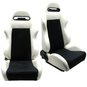 Fits Chevy Models 2 Tone White Pvlack Suede Racing Seats Sliders Pair