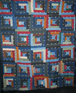 Antique 1930s Log Cabin Quilt Tied Straight Furrow Pattern Hand Stitched