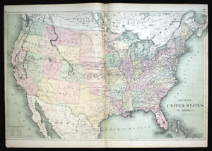 Large 1873 United States Map By David Williams Pony Express Route Chart