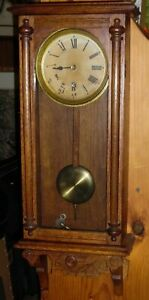 Antique Waterbury Halifax Oak Regulator Wall Clock Not Running
