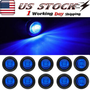 10x 3 4 3 Led Side Marker Indicator Lights Blue For Trailer Truck Van