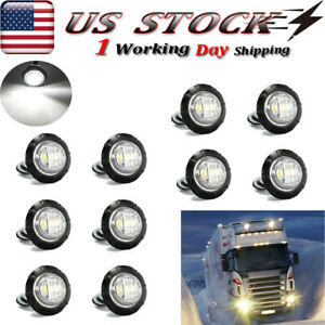 10x Mini 3 4 Round 3 Led Side Marker Bullet Light For Trailer Truck White 12v