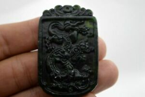 100 Chinese Fine Carved Natural Jade Pendant Necklace Dragon Aaaa
