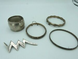 Scrap Lot Of 5 Sterling Silver Jewelry Pieces 65 98 Grams
