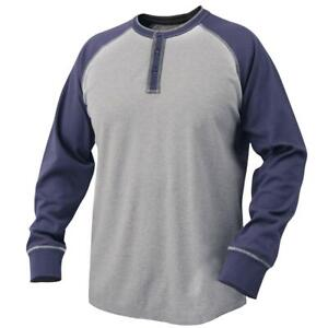 Black Stallion Tf2520 ng 7 Oz Flame resistant Cotton Jersey Henley Navy gray
