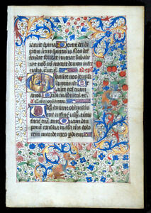Medieval Manuscript Book Of Hours Leaf Illuminated Miniature Mary Coronation