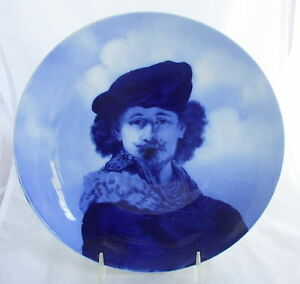 Antique Porcelain Dark Cobalt Blue White Rembrandt Portrait Artist Plate