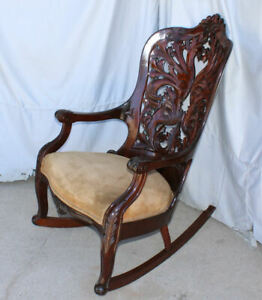 Antique Victorian Mahogany Laminated Pierce Carved Back Rocking Chair