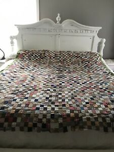 Vintage Homemade Postage Stamp Quilt Top Pieced 1800 S Antique