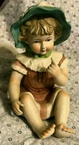 Vintage Piano Baby Bisque Porcelain Figurine 13 Tall Little Girl W Bonnet Wow